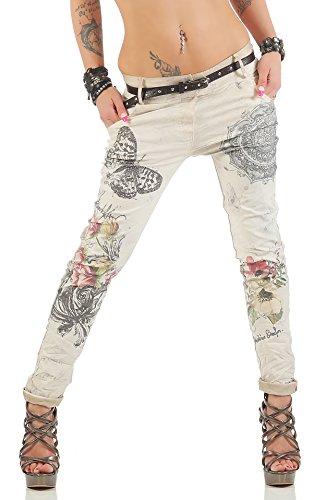 ZARMEXX Donne pantaloni larghi Fidanzato con cinghia dei jeans pantaloni di Jeggings Chino farfalla Stampa Beige