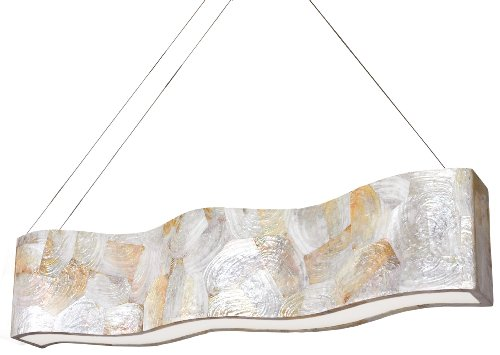 Varaluz 178N07A Big 8-Light Linear Pendant - Reclaimed Kabebe Shell