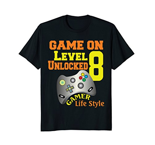 Level 8 Game On Video Game 8th Birthday T Shirt (Loving Game Ladies T-shirt White)