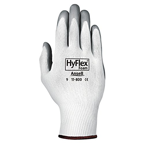 Ansell 11-800-8 HyFlex Foam Gloves, Size 8, White/Gray (Pack of 12) (Work Impregnated Glove)