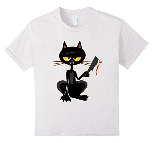 Kids Black Cat Halloween Zombie Party Costume Shirt 8 White