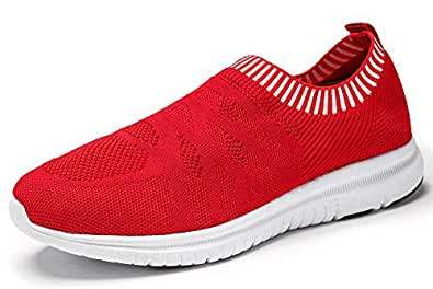 QIUYIXI Men's Slip On Walking Shoes Lightweight Causual Running Sneakers Multi Size: 7 Red/White