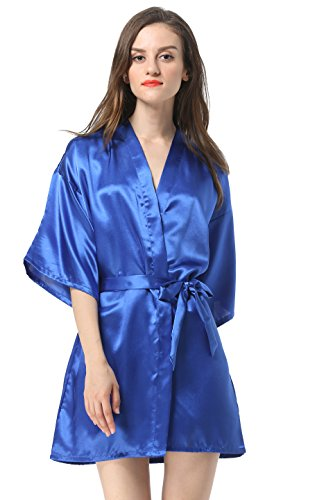 Women's Satin Plain Short Kimono Robe Bathrobe, Medium,