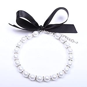 Snow White Dog Cat Pearls Necklace Collar Bling Accessories Ribbon Charm Pet Puppy Jewelry 3 Size (M)