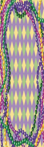 Cut Beads Aluminum Diamond - Mardi Gras 3D Decorative Film Privacy Window Film No Glue,Frosted Film Decorative,Mardi Gras Celebration Beads in Vibrant Graphic Style on Diamond Line Pattern Decorative,for Home&Office,17.7x59Inch M
