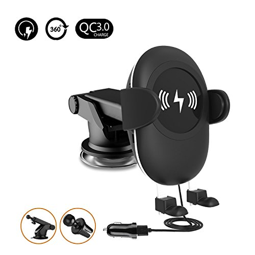 Wireless Fast Car Charger Easy One Touch 2 in 1 Air Vent Mount Phone Holder Cradle for Samsung Galaxy S9 S9 Plus S8 & Standard Charge for iPhone X, 8/8 Plus Qi Enabled Devices
