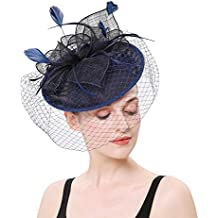 LATIMOON Sinamay Fascinators Kentucky Derby Headband Bridal Wedding Hats Fascinators Tea Party Headwear for Women and Girls