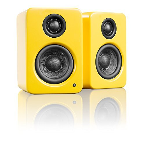 "Kanto YU2 Powered Desktop Speakers – 3"" Composite Driver 3/4"" Silk Dome Tweeter – Matte Yellow"
