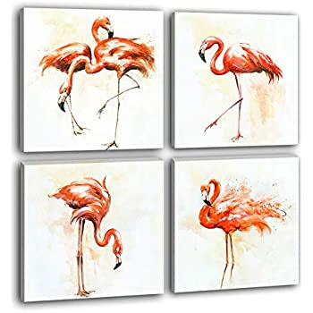 Hongwu Flamingo Wall Art Canvas Prints Painting Bird Pictures for Wall Decor Stretched Ready to Hang 12x12inchx4Panels