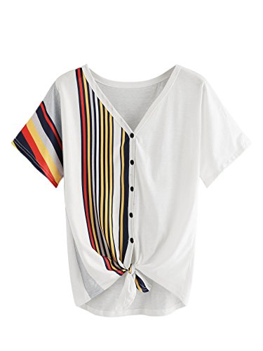 ROMWE Women's V Neck Contrast Striped Button Tee Shirt Color Block Knot Front Short Sleeve Top White S