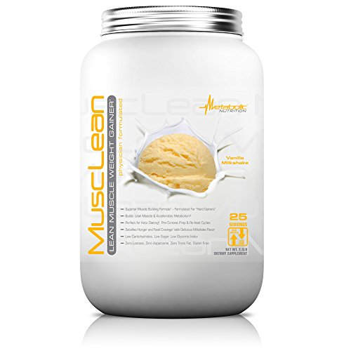 Metabolic Nutrition, Musclean, Whey Protein Meal Replacement, Weight Gainer, High Protein, Low Carb, High Fat, Keto Diet, Digestive Enzymes, 24 Vitamins and Minerals, Vanilla, 2.5 pound (25 (Gainer Whey Protein)