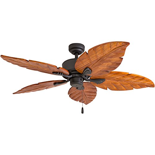 (Prominence Home 80020-01 Willow View Tropical Ceiling Fan, Hand-Carved Wooden Blades, 52 inches, Bronze)