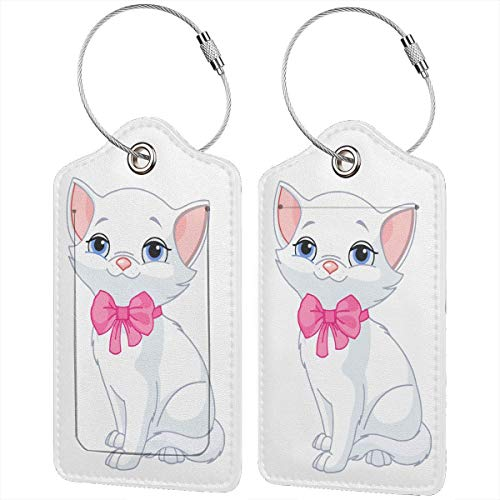 Very Cute White Cat Leather Travel Luggage Tags Luggage ID Tags Carry-On Cards Set Of 1.2.4.Pcs