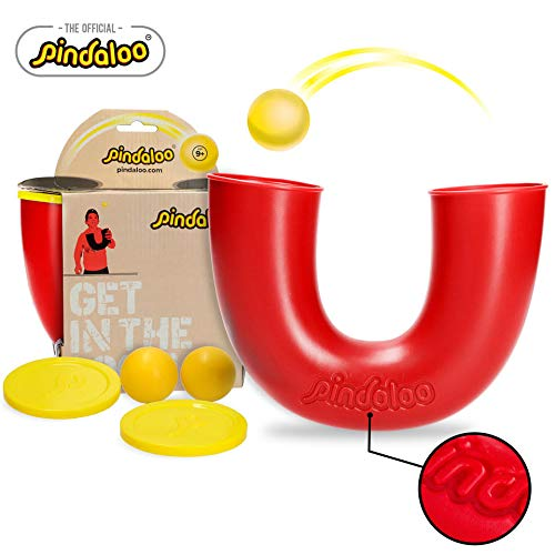 (pindaloo Skill Toy +2 Juggling Balls. Hot Gift for Kids, Teens and Adults. Lots of Fun, Develops Motor Skills, Hand Eye Coordination and Balance. for Indoor and Outdoor Play (Red))