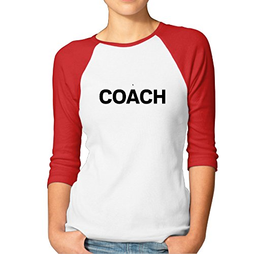 Coach Logo å¸½å Red Heart 7 Points Raglan Sleeves T Shirt For Women - XL Raglan Sleeves Teeshirt ()