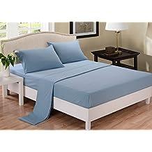 "Genuine 600 TC Egyption Cotton Finest Yarn 3 Piece Fitted Sheet 8"" Deep Pocket Three Quarter 48x75"" Light Blue Solid"