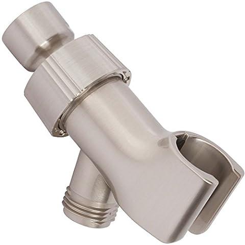 Aqua Elegante Shower Arm Bracket - Adjustable Handheld Shower Arm Mount & Holder With Brass Connector - Brushed - Brushed Stainless Adjustable Flange