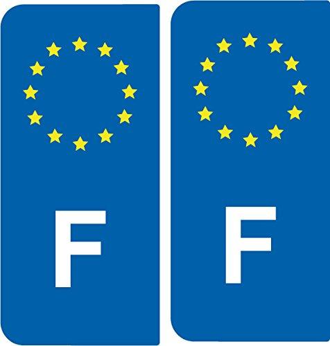2 Autocollants de plaque d'immatriculation auto F France - Identifiant Européen