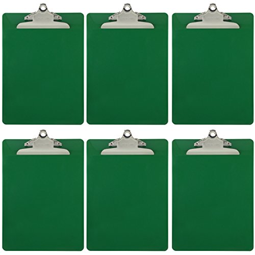 Trade Quest Plastic Clipboard Opaque Color Letter Size Standard Clip (Pack of 6) (Dark Green)