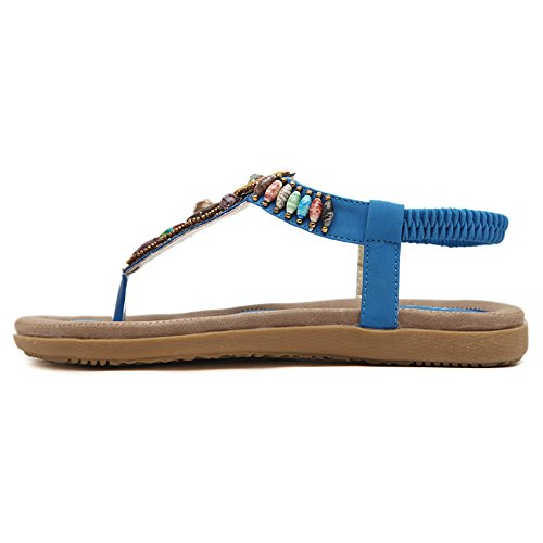 Styles flip Bohemia Sandal Blue Shoe Women's of Colorfulworld Flops Beaded C8fwOxq4B