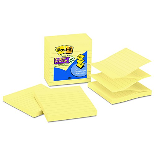 4 in x 4 in R440-AQSS 5 Pads//Pack Lined Post-it Super Sticky Pop-up Notes 2x Sticking Power Periwinkle