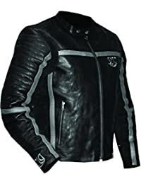 Motorcycle Gear Leather Jacket In Premium Grain Leather