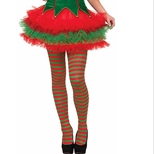 ManxiVoo Christmas Stockings Elf Tights Xmas Striped Socks Fancy Dress Costume Catoon Over Knee Long Sock (L, Green)