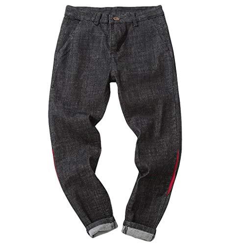 ZARLLE_Pantalones Pantalones Vaqueros Largo Recto Hombres, Hombre Vaqueros Rotos Chandal Slim Fit Skinny Fitness Pantalones Casuales Elasticos Agujero PantalóN Negro