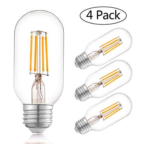 Edison Bulb,LED 4w Dimmable Squirrel Cage Filament Vintage Light Bulbs T45(T14) Antique Teardrop Design Retro Pendant Lights E26/E27 110-130V (4 Pack) by TZOE