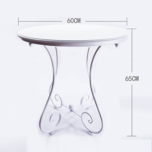 PM-Tables Simple Casual Small Round Table, European Wrought Iron Solid Wood Coffee Table, Sofa Corner Small Coffee Table, (Color : B, Size : ()