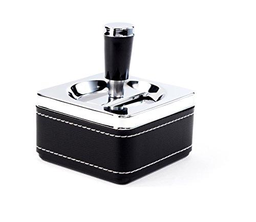 Eleganter moderner schöner Leder Drehaschenbecher Windaschenbecher 9 cm quadratisch schwarz chrom silber