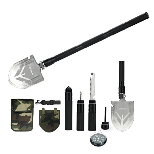 URmates Outdoor Survival Folding Shovel of Multi-functional Portable Military Kit for Camping Hiking Hunting Fishing Gardening Backpacking Car Emergency Snow Shoveling by URmates