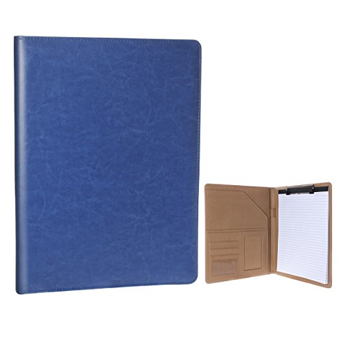 First Street Leather - Geila Business PU Leather Resume Storage Clipboard Folder Portfolio Padfolio, Interview/Legal Document Organizer & Business Card Holder for Office Conference (Navy blue)