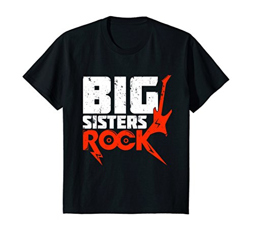 Rock Sisters Big (Kids Girls Big Sister Shirt, Big Sisters Rock Funny T-shirts 8 Black)