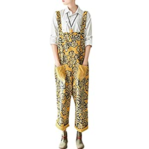 Zoulee Women's Printed Bib Overalls Loose Jumpsuits Rompers