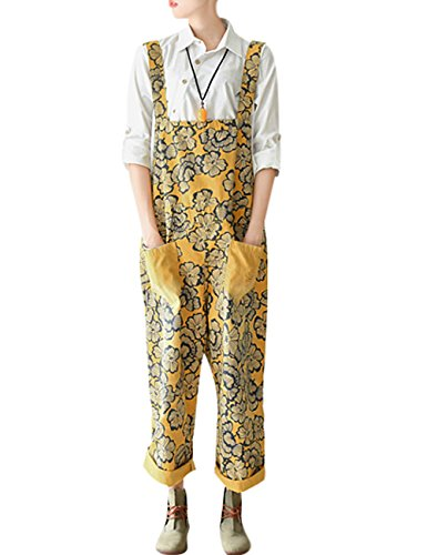 Zoulee Women's Printed Bib Overalls Loose Jumpsuits Rompers Style 6 Yellow