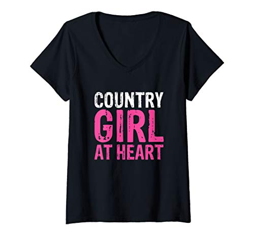 Womens Country Girl At Heart Hometown Sweetheart Cute Fun V-Neck T-Shirt (Country Girl Heart T-shirt)