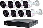 Topvision Top808 Kit de 8 Cámaras 1080P Lite, con Grabador Digital DVR de 8 Canales + 1 Canal Ip y Cables Incluidos, color Blanco, 8X8 1080P, Paquete de 1