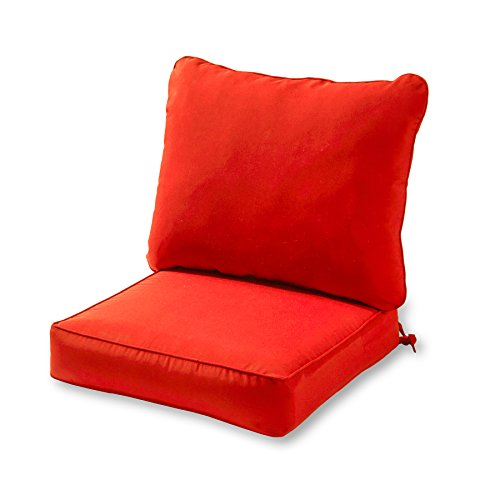 Greendale Home Fashions Deep Seat Cushion Set, Salsa (Furniture Replacement For Patio Cushions Seat)
