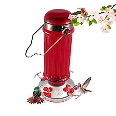 Grateful Gnome - Hummingbird Feeder - Red Glass Bottle with Metal Clamp Hanger