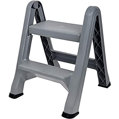 Spigo 2-Tier Step Stool Ladder, Durable Construction, Compact and Lightweight, Perfect Your Home or Workplace, Rust Resistant, One-Handed Operation, 22.5x20.5x19 Inches