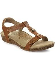 Aetrex Womens Lori T-Strap Sandal, Cognac Leather