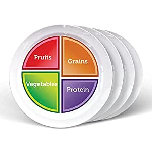 Choose MyPlate 10 inch Flat Plate for Adults & Teens 4 Pack; Healthy Food and Portion Control