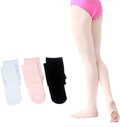 Cooraby 4 Pairs Dance Tight Footed Ballet Ultra Soft Ballet Tights for Girls,4 Colors