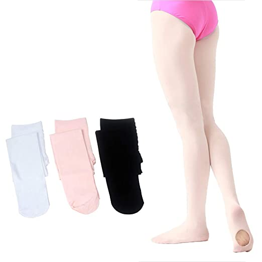 fb5966191eca6 Dejian 3 Pairs Girls Footed Ballet Dance Tights Ultra Soft Transition Convertible  Ballet Tights for Girls