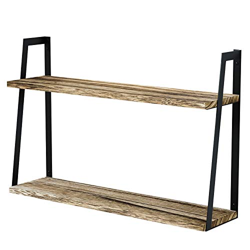 SRIWATANA 2-Tier Floating Wall Mount Shelves Book Shelves Rustic Wood Shelves Perfect Decor for Any Room