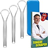 Tongue Scraper 3 Pack Professional Stainless Steel Tongue Scraper Cleaner with Carrying Box for Both Large Mouth and Small Mouth of Adults & Kids - 100% Cure Bad Breath