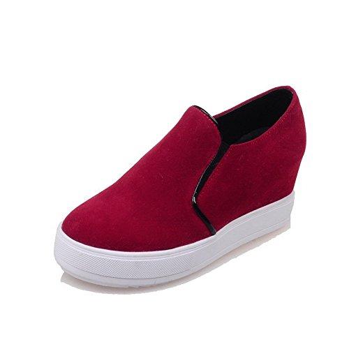 Shoes punta de Pumps Zapatos Frosted para Solid Red alto mujer cerrada redonda punta tacón con VogueZone009 x6aBTXwq