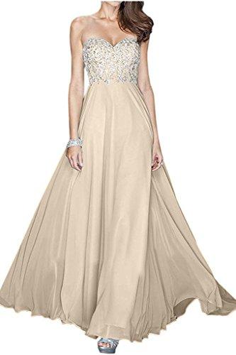 Chiffon Pailletten Damen Jugendweihe La Abendkleider Abschlussballkleider mit Braut Langes Champagner Kleider Marie 6x64aI