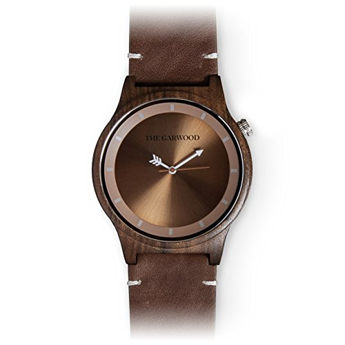 The Garwood Wood Watch – Leather Band –Era 40mm – Round – Analog – 12-Month Warranty (Big Automatic Mens Watch Square)